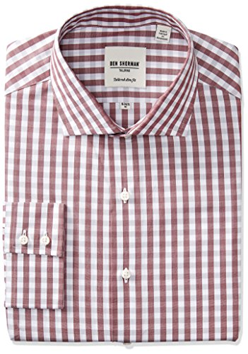 ben-sherman-mens-slim-fit-exploded-gingham-spread-collar-dress-shirt-wine-grey-15-neck-32-33-sleeve