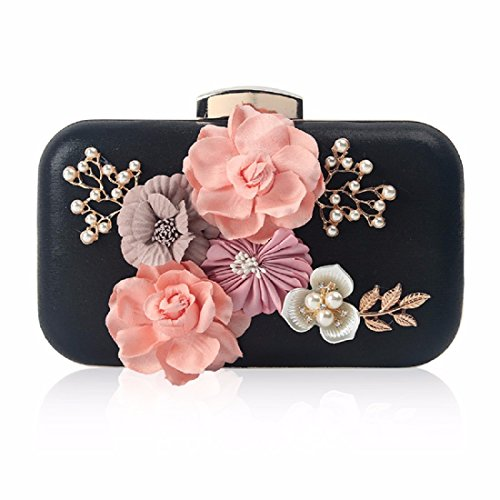XJTNLB Flores, cena, bolsas, bolsas, bolsas bordadas mano, diamante, perla bolsos de fiesta, bolsos de fiesta,Black Black