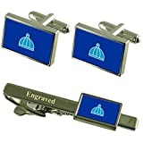 Select Gifts Durban City South Africa Flag Cufflinks Engraved Tie Clip Set