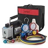 ARKSEN 3CFM Vacuum Pump & 4 Way Manifold Gauge Quick Adapter HVAC R410 R22 R134 R407C (Carrying Bag)