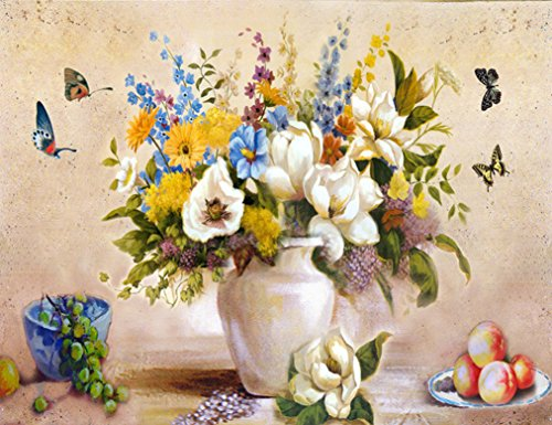 MailingArt Wooden Framed Paint By Number Flowers No Mixing / No Blending Canvas DIY Painting - Classical Flowers (V)