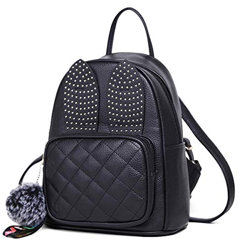 Girls Rabbit Ear Cute Mini Leather Backpack, XB Small Backpack Purse for Women Fashion Shoulder Bag (Black)