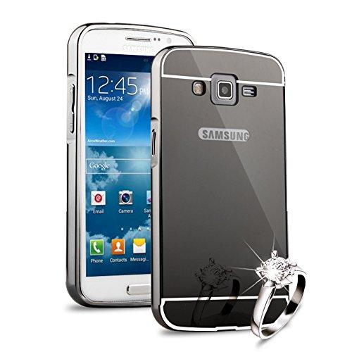 HICASER Duro Híbrido Carcasa para Samsung Galaxy Grand 2 G7106 Bumper Case del Metal Aluminio + PC Ultrafina Espejo Efecto Trasero Funda Cover Gris