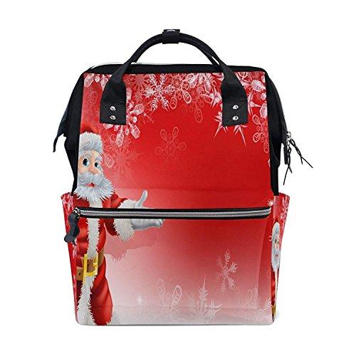 Backpack Diaper Bag Red Santa Christmas Snowflake Womens Tra