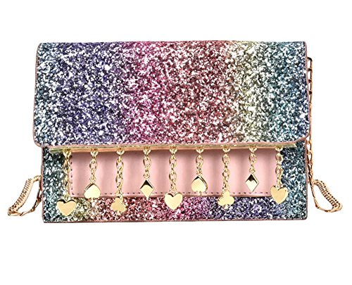 Shoulder Wallet Women Purses closet for Strap Bag Glitter Clutch Nite Rainbow with Sequin x0XS1nv