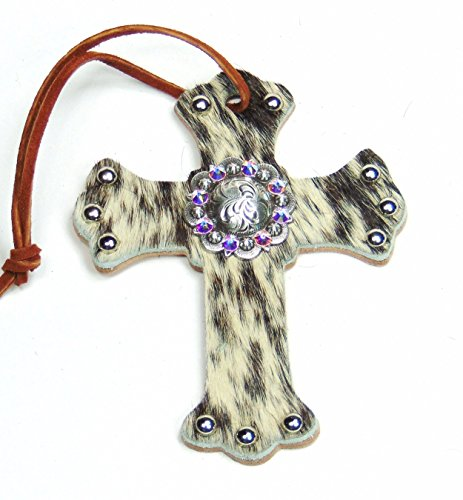 (American River Tack Genuine Leather, Salt and Pepper Hair On Royal Saddle Cross with Swarovski Crystal Concho, 3-3/4