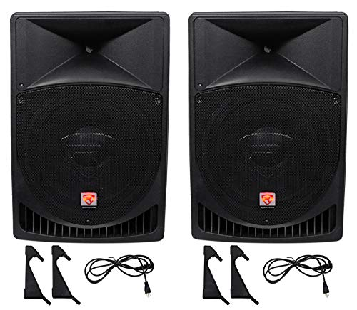 "Pair Rockville Power Gig RPG15 15"" Powered Active 2000 Watt 2-Way DJ PA Speakers"