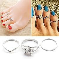 Ransopakul 3pcs/set Womens Vintage Silver Toe Ring Adjustable Foot Beach Feet Jewelry Gift