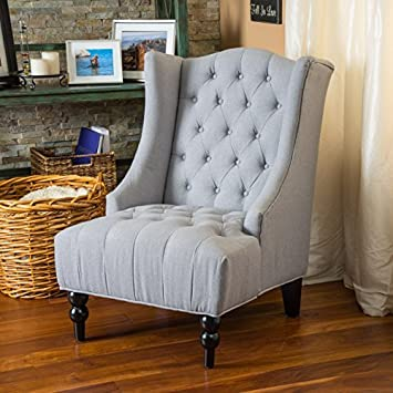 Lovely Clarice Tall Wingback Silver Tufted Fabric Accent Chair