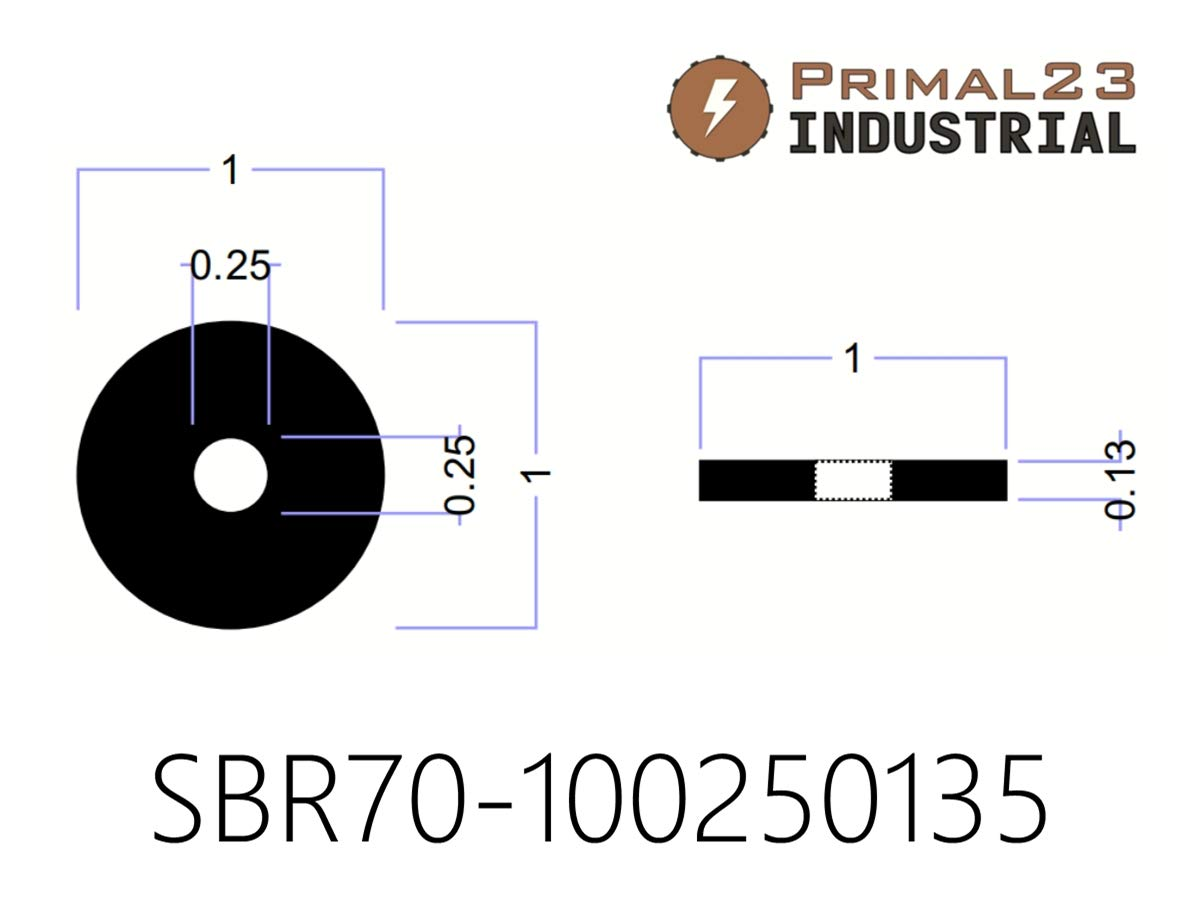 70 Duro SBR Rubber Washers Primal23 Industrial SBR70 Series Heavy Duty Abrasion Resistant Rubber Washers in Pop-Up Storage Box 100 1 OD X 1//4 ID X 1//8 Thickness