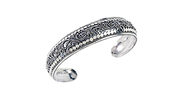 Balinese Ornate White Cubic Zirconia 925 Sterling Silver Cuff Bangle Bracelet