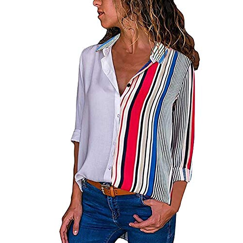 Clearance Colorful Striped Shirt Top Womens Casual Long Sleeve Color Block Stripe Button T Shirts Tops Blouse Duseedik (Multicolor B, ()