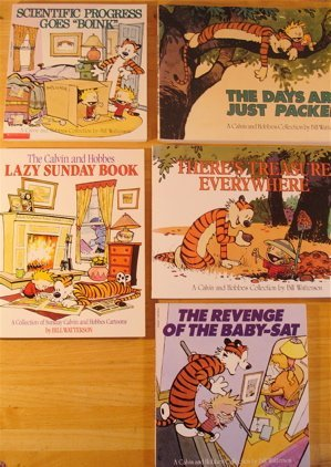 Calvin & Hobbes Super Set of 5: The Revenge of the Baby-Sat, Lazy Sunday Book, Scientific Progress Goes Boink, Calvin and Hobbes,  Homicidal Psycho Jungle Cat