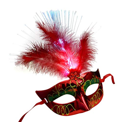 WeiYun Halloween Costume Party Props Dress Up Fluorescent Princess Feather Masks Masquerade Fancy Dress Party, FLuminous Mask for Hot Women ,Venetian LED Fiber Mask 1 PC (Red) -
