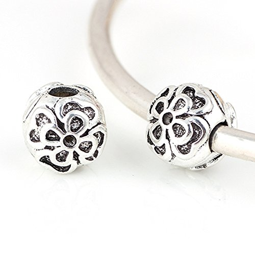 Charm Central Silver Tone Double Flower Stopper Charms - Four (4) Flower Charms for Charm Bracelets - Fits Most Charm Bracelets