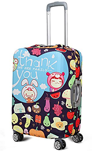 """WATERFLY Cute 20"""" Elastic Luggage Cover Protector Suitcase Protective Luggage Baggage Protector For 20""""-28"""" (20 Inch, Cute Fruits)"""