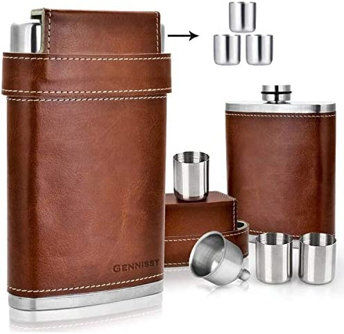 Shenglin Leather Covered Stainless Steel Hip Flask 8 Oz With Funnel Amazon Ca Home Kitchen