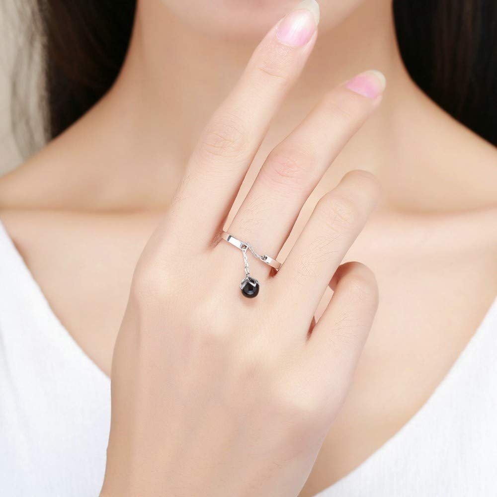 THTHT S925 Sterling Silver Womens Open Ring Pendant Black Pearl Adjustable Ring Romantic Giftsimple Style Fashion Idea Temperament Elegant Jewelry