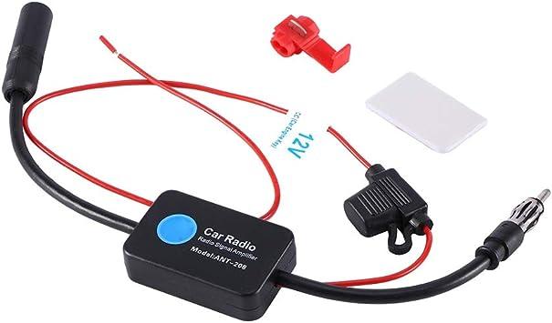 Radio de coche FM AM Antena Amplificador de señal Amplificador para camión RV/Recogida/Motocicleta/Barco/Carro de golf Antena de coche Amplificador de ...