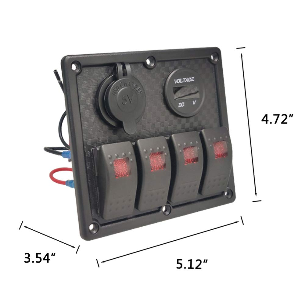 Jamgoer 4 Gang Blue LED 5 Pin ON//Off Switch Panel with 5V//4.8A Dual USB Blue DC 12 Volt Socket Labels and Wiring Kits for Marine Boat Car Rv Vehicles Truck