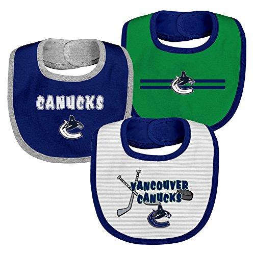 Outerstuff NHL Vancouver Canucks Layette Newborn Fair Catch Bib Set (3 Piece), One Size, Dark Blue