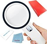 Magnifying Glass with Light Magnifier with Lights,30X 12 LED Double Optical Glass Lens Handheld Magnifying Glass Lighted Magnifying Glass for Reading Seniors Coins Macular Degeneration Low Vision