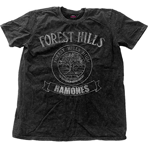 (Ramones T Shirt Forest Hills Logo Official Mens Black Distressed Snow Wash)