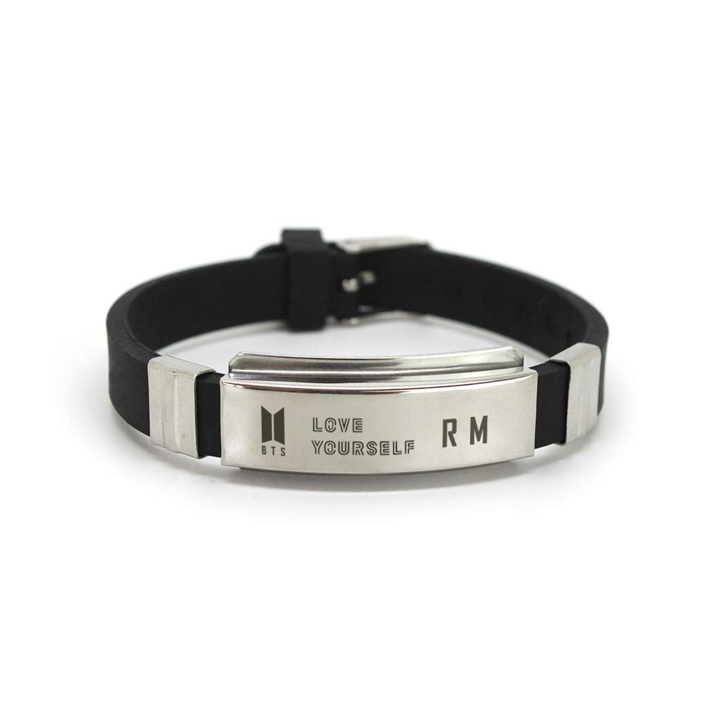 Fanstown BTS Kpop Titanium Silicon Wristband with lomo Cards Anti-Rust and Water Prove