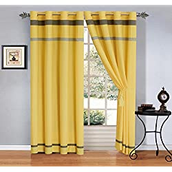 "Modern 4 - Piece Yellow/Grey/Off-White Grommet curtain set Drapes/Window Panels 120"" Wide X 84"" Tall"