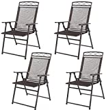 K&A Company Sling Folding Outdoor Chair Set Patio Chairs Furniture Garden Beach Steel Fabric Pack Frame Mesh Pool Camping Set of 4