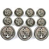 New ANTIQUE SILVER Finished ~NAVAL ANCHOR~ METAL BLAZER BUTTON SET ~ 11-Piece Set of Metal Buttons for SINGLE BREASTED Blazers, Sport Coats, Jackets & Military Uniforms ~ METALBLAZERBUTTONS.COM