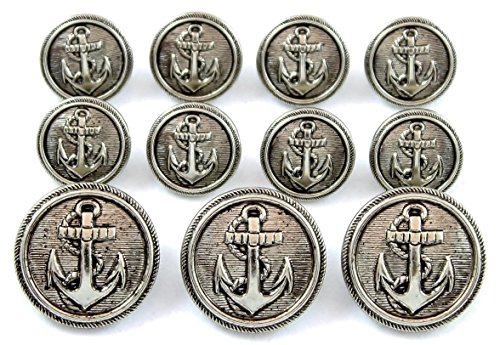 new-antique-silver-finished-naval-anchor-metal-blazer-button-set-11-piece-set-of-metal-buttons-for-s