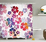 Ambesonne Hawaiian Decorations Collection, Exotic Floral Print Island Theme Tropical Hawaii Flowers Pattern Art Print, Polyester Fabric Bathroom Shower Curtain, 75 Inches Long, Purple Red Orange