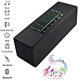 Teastar Wireless Bluetooth Speaker Portable with Mic Handsfree Calling Support LED Display Alam Clock MicroSD TF Card U Disk MP3 Playback for Mobile Phone PC Tablet Laptop ect (Black)