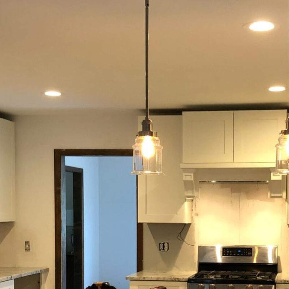 KIVEN H-Type 3 Wire Miniature Pendant Track Lighting Fixture Restaurant Chandelier Decorative Chandelier Instant Pendant Industrial Factory Glass Pendant Lamp,Bulb Include,One Light by Kiven (Image #4)
