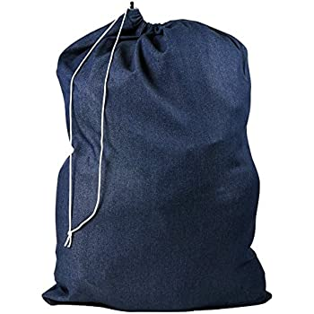 Amazon.com: DENIM LAUNDRY BAG CLOTHES HAMPER DRAWSTRING: Home ...