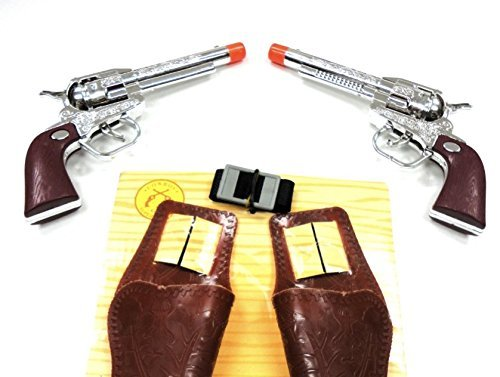 Pretend PlayTexas Cowboy Western Pistols w Holster Belt Gift Box Set Toy Cap Guns Kids Costumes