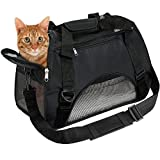 EVELTEK Soft Side Pet Carrier Travel Bag Small Dogs, Medium Sized Cats Rabbits, Comes Shoulder Strap, Safety Buckle Zippers, Newly Designed (M, Black)
