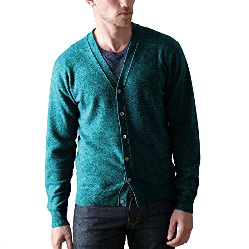 Parisbonbon Men's 100% Cashmere V-Neck Cardigan Color Sky Blue Size ()