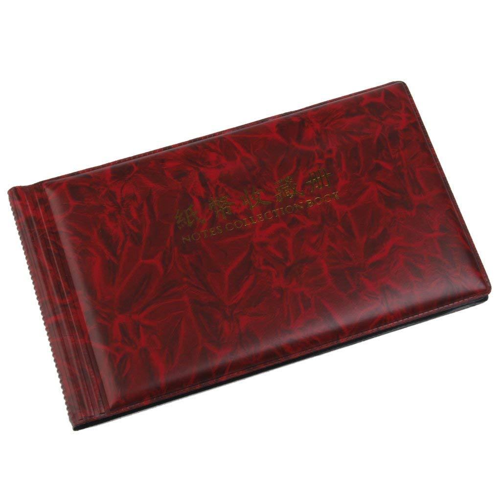 Lyanther /Álbum de colecci/ón de preservaci/ón de colecci/ón de Billetes de Banco 30 p/áginas de Moneda de recibo de Bolsa de Dinero Rojo Vino