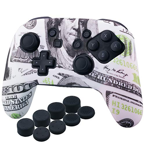 (YoRHa Studded Silicone Transfer Print Cover Skin Case ONLY for Nitendo OFFICIAL Switch Pro Controller x 1(US dollar) With Pro Thumb Grips x 8)