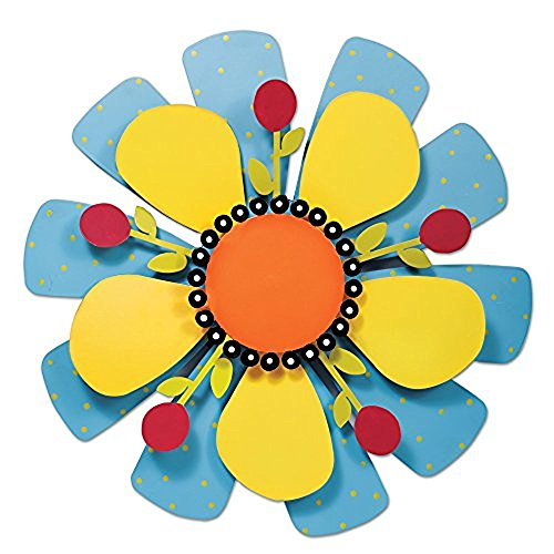 e Collection Kinetic Sculpture Yard Art, 18-inches, Yellow Flower on Blue ()