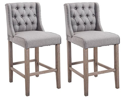 "HomCom 40"" Tufted Counter Height Bar Stool Dining Chair Set of 2 - Gray (Padded Counter Height Bar Stools)"