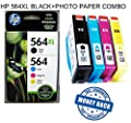 564XL High Capacity HP Ink Cartridges Combo-Pack (Black XL, Standard Cyan, Magenta & Yellow) Color Printing Ink Photo Paper Photosmart Inkjet Copy