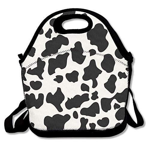Cow Print Lunch Bags Insulated Travel Picnic Lunchbox Tote Handbag With Shoulder Strap For Women Teens Girls Kids Adults