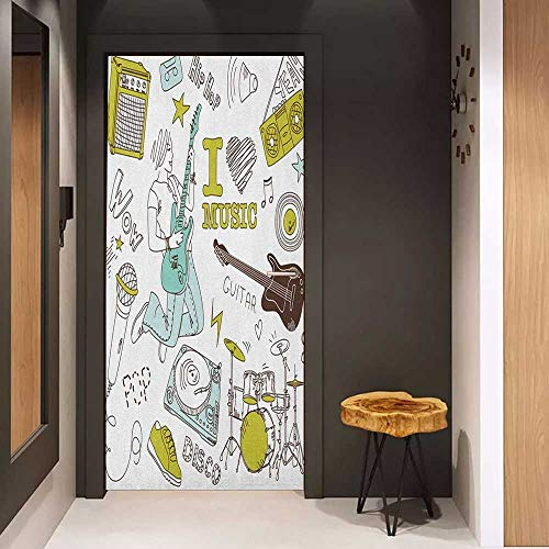 Toilet Door Sticker Popstar Party I Love Music Themed Sketch Composition Instruments Musician Girl Glass Film for Home Office W31 x H79 Khaki Pale Blue Brown