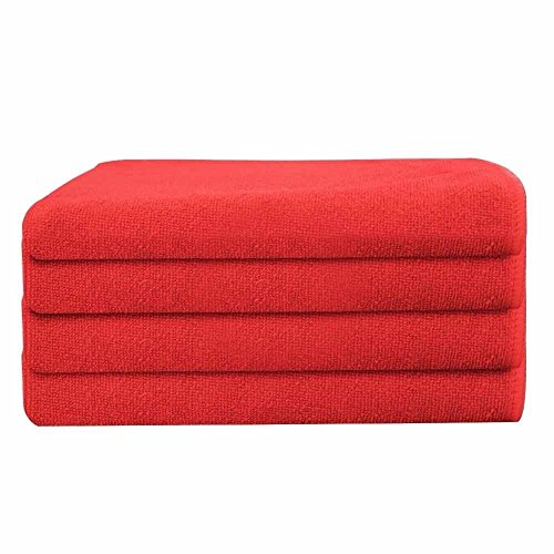 GHP 240-Pcs Red 16''x16'' Professional Grade 330GSM Microfiber Cloth Cleaning Towels by Globe House Products