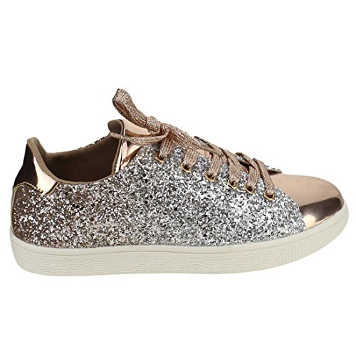 Leatherette Women Weight Rose Glitter Light Low Lace Gold 1 Up Glitter Sneaker Top Metallic 5 Shoe Fashion 5 Stylish Quilted Up Lace EnrqXxE5t