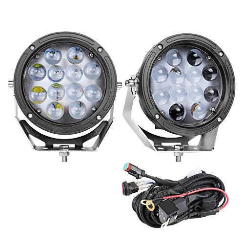 LED Pods, DJI 4X4 2Pcs 7 Inch Round LED Off Road Lights CREE Work Light with Wiring Harness Spot Lights Waterproof Driving Fog Lamps for Truck JEEP Tractor ATV UTV Boat Heavy Duty Marine