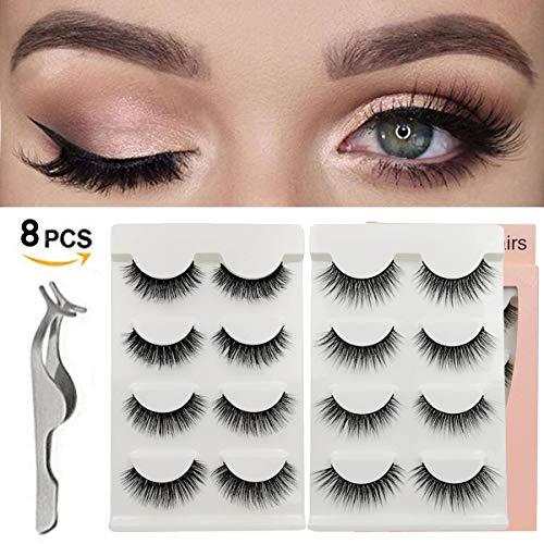 CHANCEZ 8 Pairs 2 Styles False Eyelashes Handmade Fake Eyelashes Reusable 3D Eyes Lashes with False Lashes Applicator